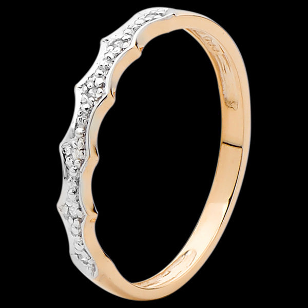 9 KARAT ROSE GOLD 6 DIAMONDS PAVE BAND RING