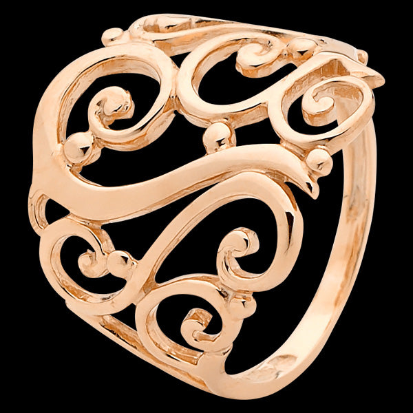 9 KARAT ROSE GOLD FLORAL FILIGREE RING