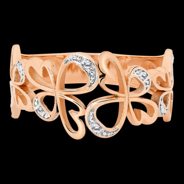 9 KARAT ROSE GOLD DIAMOND ANGEL RING