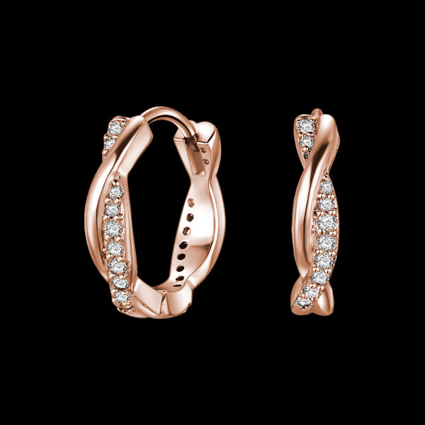 KAGI ROSE GOLD TWIST HUGGIE EARRINGS