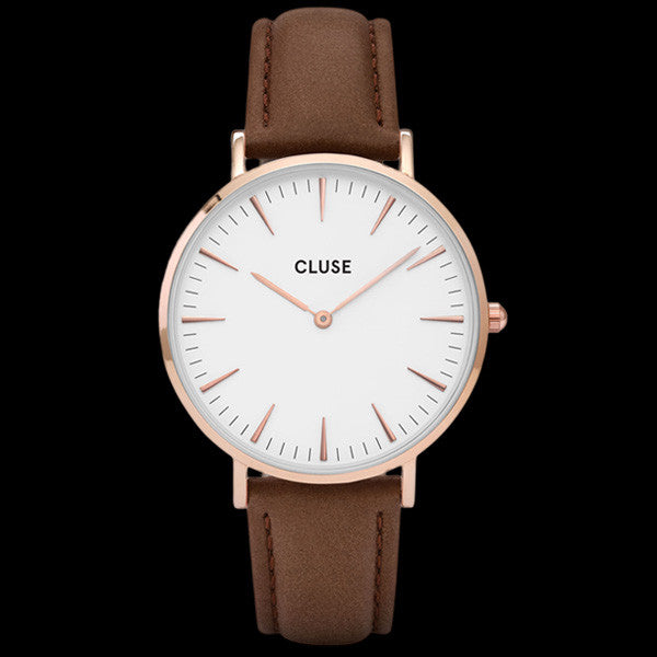CLUSE LA BOHEME ROSE GOLD WHITE/BROWN WATCH