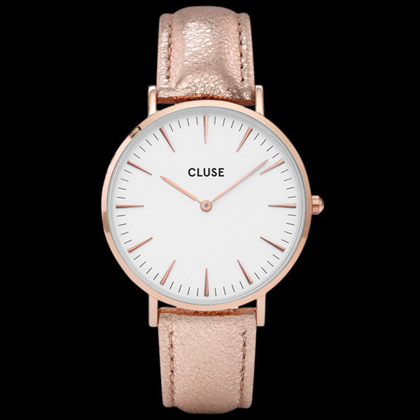 CLUSE LA BOHEME ROSE GOLD WHITE/ROSE GOLD METALLIC WATCH