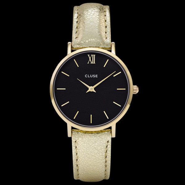 CLUSE MINUIT GOLD BLACK/GOLD METALLIC WATCH