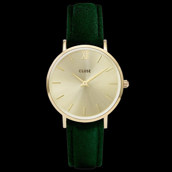 CLUSE MINUIT GOLD GREEN VELVET LIMITED EDITION WATCH