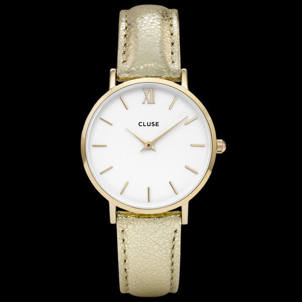 CLUSE MINUIT GOLD WHITE/GOLD METALLIC WATCH
