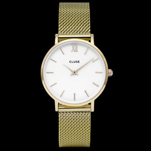 CLUSE MINUIT MESH GOLD/WHITE WATCH