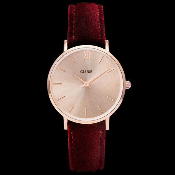 CLUSE MINUIT ROSE GOLD RED VELVET LIMITED EDITION WATCH