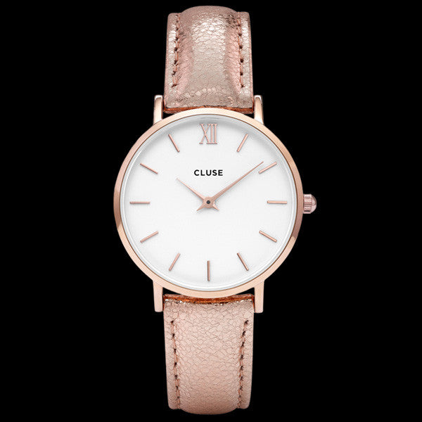 CLUSE MINUIT ROSE GOLD WHITE/ROSE GOLD METALLIC WATCH