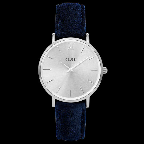 CLUSE MINUIT SILVER BLUE VELVET LIMITED EDITION WATCH