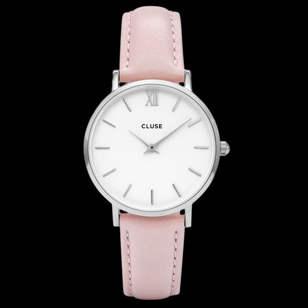 CLUSE MINUIT SILVER WHITE/PINK WATCH