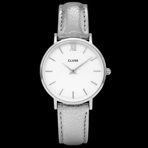 CLUSE MINUIT SILVER WHITE/SILVER METALLIC WATCH