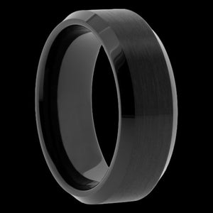 MEN'S BLACK CERAMIC CONCAVE EDGE RING