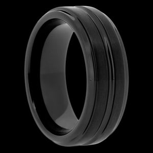 MEN'S BLACK CERAMIC GROOVE RING