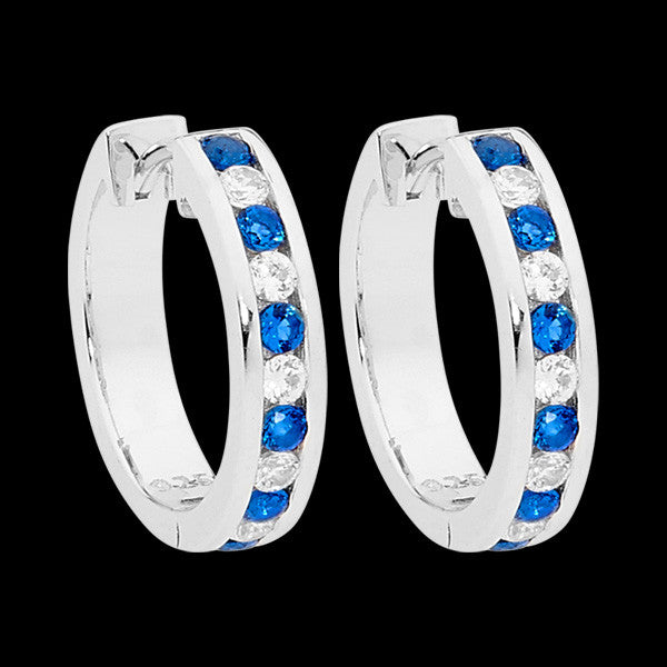 ELLANI STERLING SILVER SAPPHIRE CZ CHANNEL SET HOOP EARRINGS