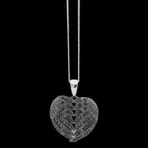 ELLANI STERLING SILVER PAVE BLACK CZ ANGEL WINGS NECKLACE