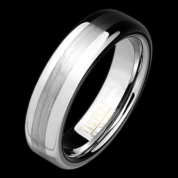 TISTEN MEN'S BRUSHED CENTRE 6MM DOME BAND RING