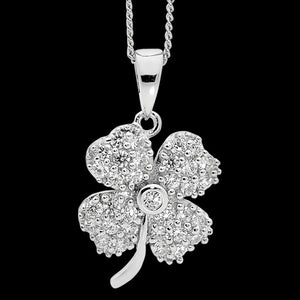 ELLANI STERLING SILVER PAVED CZ FOUR LEAF CLOVER NECKLACE