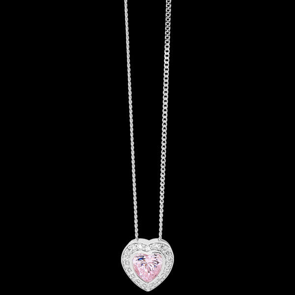 ELLANI STERLING SILVER LIGHT PINK CZ PAVE HEART NECKLACE