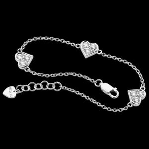 ELLANI STERLING SILVER THREE HEARTS BRACELET