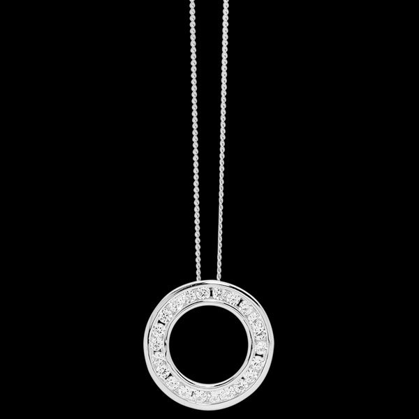 ELLANI STERLING SILVER CHANNEL CIRCLE CZ NECKLACE
