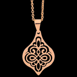 ELLANI STAINLESS STEEL ROSE GOLD IP FILIGREE BULB NECKLACE