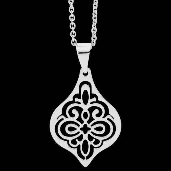 ELLANI STAINLESS STEEL FILIGREE BULB NECKLACE