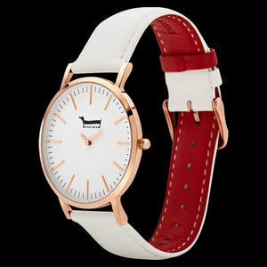 DOXIE GEMIMAH ROSE GOLD WHITE 40MM WATCH - ANGLE VIEW