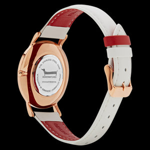 DOXIE GEMIMAH ROSE GOLD WHITE 40MM WATCH - BACK VIEW