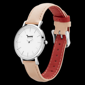 DOXIE SHELBY SILVER PEACH 34MM WATCH - ANGLE VIEW