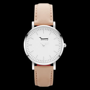 DOXIE SHELBY SILVER PEACH 34MM WATCH