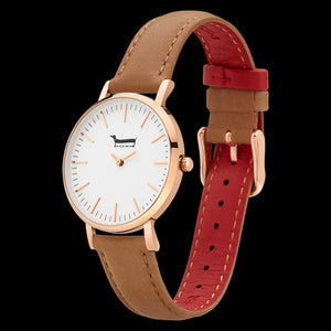 DOXIE ELLA ROSE GOLD TAN 34MM WATCH - ANGLE VIEW