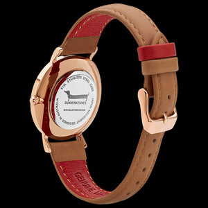 DOXIE ELLA ROSE GOLD TAN 34MM WATCH - BACK VIEW