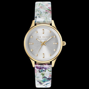 TED BAKER ZOE GOLD SILVER DIAL FLORAL LEATHER WATCH