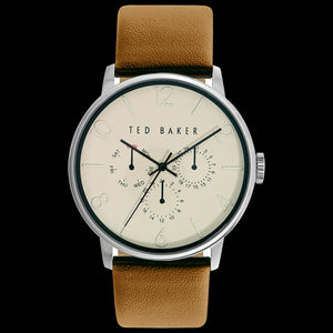 TED BAKER JACK SILVER CREAM DIAL CHRONO MUSTARD LEATHER WATCH