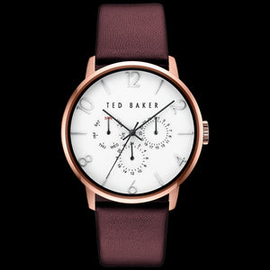 TED BAKER JAMES ROSE GOLD WHITE DIAL CHRONO BURGUNDY LEATHER WATCH