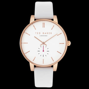 TED BAKER OLIVIA ROSE GOLD WHITE LEATHER WATCH