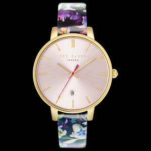 TED BAKER KATE GOLD PINK DIAL FLORAL LEATHER WATCH