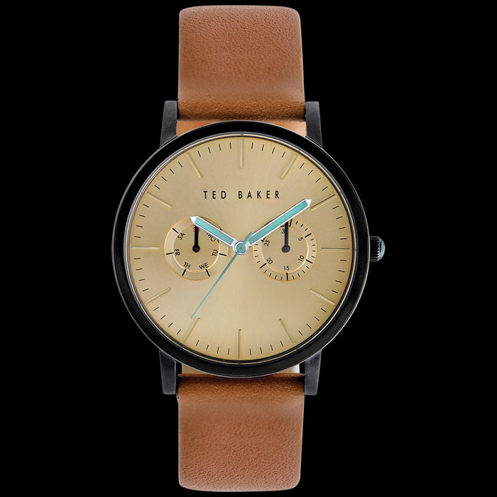 TED BAKER BRIT BLACK GOLD DIAL CHRONO TAN LEATHER WATCH
