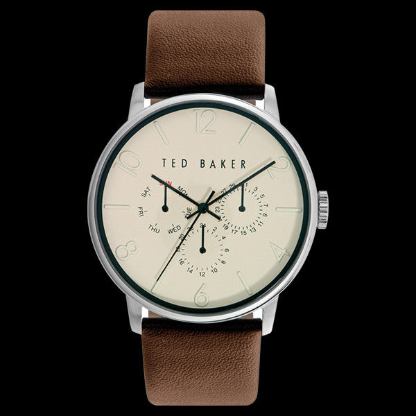 TED BAKER JAMES SILVER CREAM DIAL CHRONO BROWN LEATHER WATCH