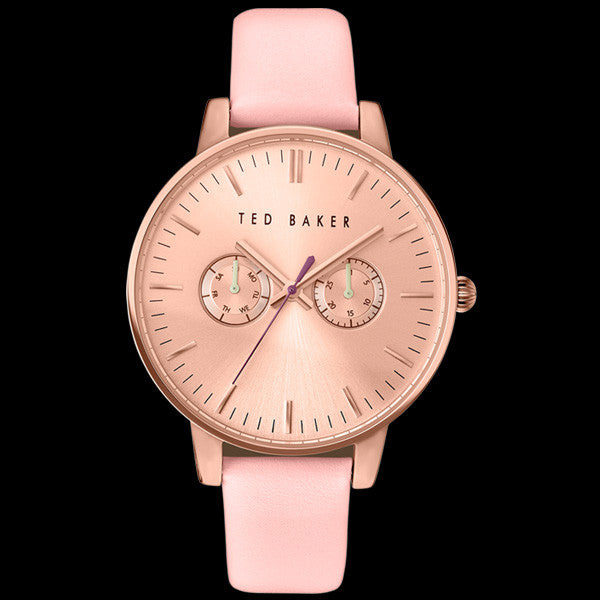 TED BAKER LIZ ROSE GOLD ROSE DIAL CHRONO PINK LEATHER WATCH