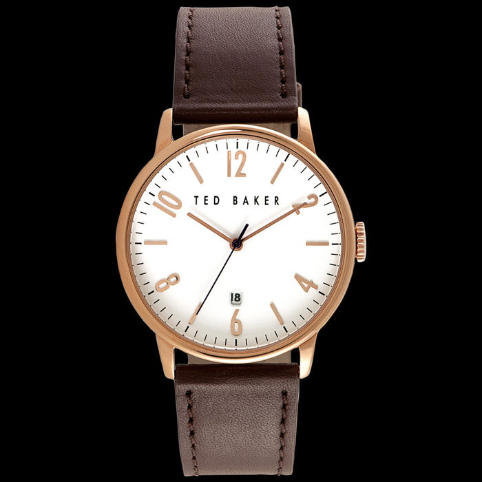 TED BAKER DANIEL ROSE GOLD WHITE DIAL BROWN LEATHER WATCH