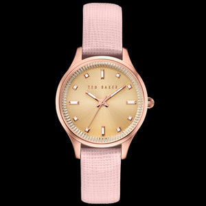 TED BAKER ZOE ROSE GOLD PINK LEATHER WATCH