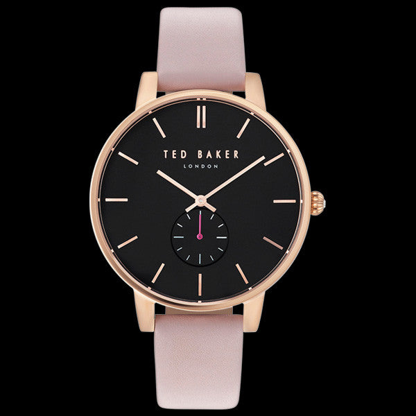 TED BAKER OLIVIA ROSE GOLD BLACK DIAL PINK LEATHER WATCH