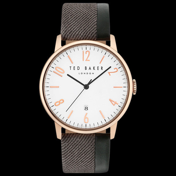 TED BAKER DANIEL ROSE GOLD WHITE DIAL BROWN/BLACK LEATHER WATCH