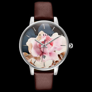 TED BAKER KATE SILVER ROSE FLORAL DIAL BROWN LEATHER WATCH