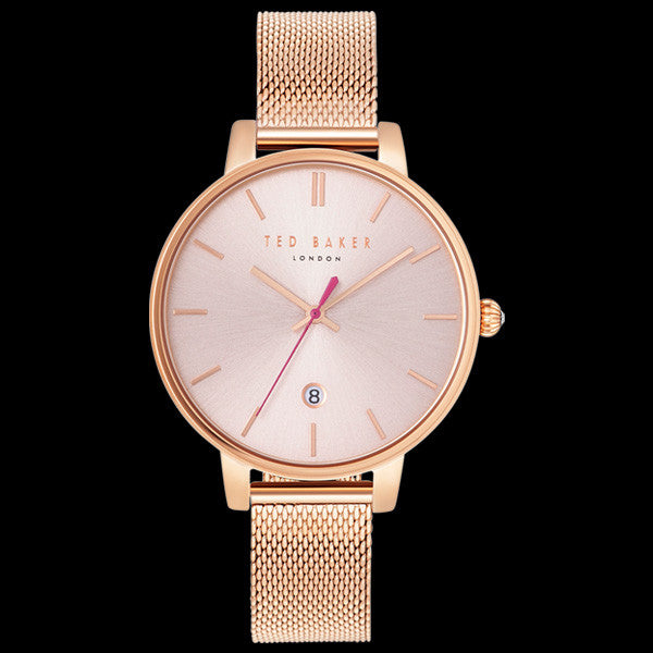 TED BAKER KATE ROSE GOLD PINK DIAL MESH WATCH