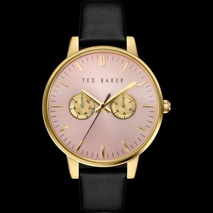 TED BAKER LIZ GOLD PINK DIAL CHRONO BLACK LEATHER WATCH