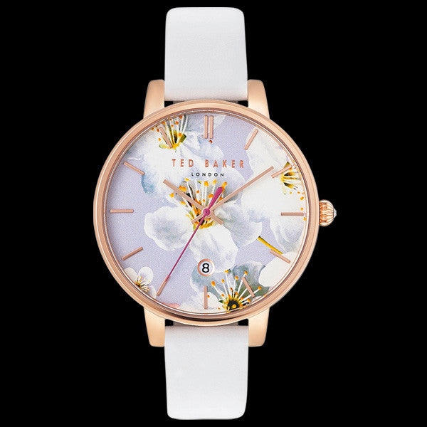 TED BAKER KATE ROSE GOLD FLORAL DIAL WHITE LEATHER WATCH