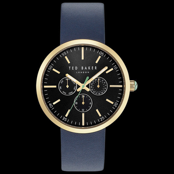TED BAKER JACK GOLD BLACK DIAL CHRONO BLUE LEATHER WATCH