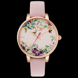 TED BAKER KATE ROSE GOLD ENCHANTED GARDEN DIAL PINK LEATHER WATCH